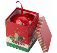 Pudełko grające/ pozytywka i bombka świąteczna w środku.