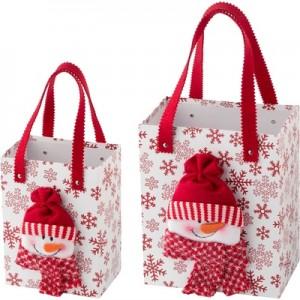 Zestaw ozdobnych toreb świątecznych z uchwytami.